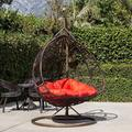 Décor Double Seats Lover Seats Couple Seats With Rack Handle Patio Swing Chair Outdoor Wicker Plastic Tear Drop Swing Lounge Chair with Red Cushion Mat & Support Frame