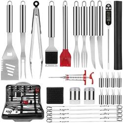Duerer BBQ Grill Accessories Grill Tools Set, 32 PCS Stainless Steel Grilling Set with Oxford Storage Bag for Camping, Grill Kit with Mat for Barbecue, Best Grill Utensil Set Gift for Men Women