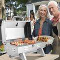 ZOKOP Portable Tabletop Gas Grill, Stainless Steel Camping Propane Grill