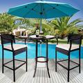 Outdoor High Top Table and Chair, Patio Furniture High Top Table Set with Glass Coffee Table, Removable Cushions, Outdoor Bar Table with Chair, Patio Bistro Set for Backyard Poolside Balcony, Q17062