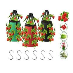Strawberry Planting Bags, 1/3pcs Hanging Strawberry Grow Bags, Breathable Strawberry Planter Bags, Fabric Planting Containers with 13 Holes, for Fruits, Herbs, Flowers(3Gallon,20x35CM),Hooks included