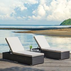 Patio Lounge Chairs Set of 3, BTMWAY Outdoor Rattan Patio Chaise Lounge Chairs Set, PE Wicker Patio Lounge Set, Adjustable Backrest Patio Conversation Chair Set w/Coffee Table Cushion, Beige, A2480