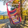 Portable Hammock Chair for Kids, Unique Hanging Rope Hammock Chair, Hanging Swing Outdoor Seat Patio Porch Garden Beach Camping with Two Soft Pillows, Durable Spreader Bar, Holds 250lb, Rainbow, Q9322