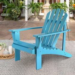 Wooden Outdoor Chairs, Outdoor Adirondack Lounge Chair, Adirondack Lawn Chairs w Back & Arm, Poolside Lounge Chair, Outdoor Chair Garden Balcony Backyard Patio Furniture, Blue, W8126