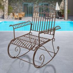 Paint Sun Shape Outdoor Garden Single Iron Art Rocking Chair, Comfortable Size Outdoor Patio Furniture Chair, Easy to Assemble Metal Patio Rocker, Curved Arms Patio Rocking Chair for Garden Deck, T119