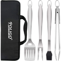 POLIGO 5 PCS BBQ Grill Accessories Stainless Steel BBQ Tools Grilling Tools Set with Storage Bag for Father's Day Birthday Presents - Camping Grill Utensils Set Ideal Grilling Gifts for Da