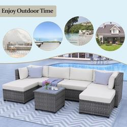"""7 Piece Patio Sofa Furniture Set, Rattan Patio Conversation Set with 4.7"""" Cushions and Ottoman, Outdoor Couch Sets, Beige Wicker Patio Furniture Set for Garden, Backyard, Poolside, Balcony, JA1064"""