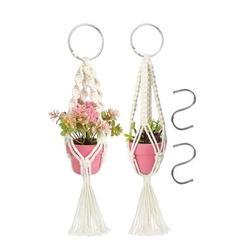 "4/2pcs Mini Macrame Plant Hangers Indoor & Outdoor, EEEkit Car Decorative Flower Pot Holder with Hooks, Handmade Cotton Rope Hanging Planter Basket for Indoor Outdoor Boho Home Decor 13.8"""