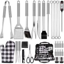 31Pcs BBQ Grill Accessories Tools Set, BBQ Grill Accessories Stainless Steel Grilling Tools with Carrying Bag, Thermometer, Grill Mats for Camping/Backyard, Grill Tools Set for Men Women