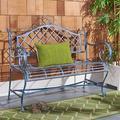 Safavieh Abner Outdoor Wrought Iron Garden Bench - Antique Blue