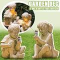 SYWAN Garden Statue Jar Boy Girl Statue A Kid With Solar Fireflies Garden Statue,Garden Decor Sculptures Resin Ornament for Outdoor Garden Decor