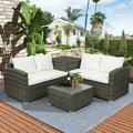 PE Wicker Rattan Garden Sectional Sofa Chair Set of 4, Outdoor Cushioned Sectional Sofa Conversation Set, Garden Patio PE Rattan Wicker Furniture Set with Beige Cushion