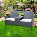 Outdoor Small Conversation Furniture Set, Wicker Patio Loveseat with Glass Table, Patio Furniture Chairs with Cushions and Table, PE Rattan Sofa Set Perfect for Deck Porch Poolside Décor, B065