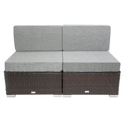 Promotion Clearance Outdoor Patio Garden 2-pc Wicker Rattan Sectional Sofa Lounge Set Armless sofa,Durable Steel Frame Waterproof Cushion Makes Your Garden Delicate (Brown)