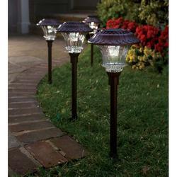 Steel & Glass Encased Solar LED Path Lights, Set of 4