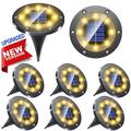 illuminlabs Solar Ground Lights, 8 Packs Gunmetal Stainless Steel Upgraded Solar Lights Outdoor, 8LED Solar Disk Lights Waterproof Solar Landscape Lights for Patio Lawn Pathway Walkway Driveway