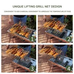 Promotion!Barbecue Grill BBQ Charcoal Grill BBQ Camping Grill Charcoal Grills Portable BBQ Stainless Steel Folding BBQ Camping Grill