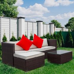 3 Pcs Outdoor Wicker Sofa Set, Pe Rattan Patio Sectional Set, Low Back Small Conversation Sofa with Table and Washable Cushions, Patio Sunroom Furniture Set for Garden Poolside Balcony, JA2361