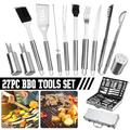 BBQ Grill Accessories, 27PCS Stainless Steel Grilling BBQ Tool Set with Aluminum Case Men Women BBQ Grilling Tools Set for Outdoor/Indoor
