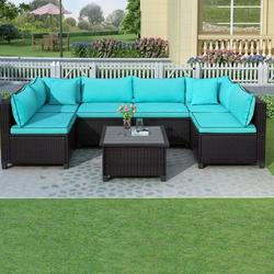 7 Pieces Patio Conversation Sofa Set, Low Back Outdoor Patio Furniture Set, PE Rattan Sectional Sofa with Tea Table & Couch Cushions, Garden Poolside Backyard Porch Outdoor Wicker Sofa Set, JA1848
