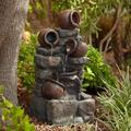 """John Timberland Rustic Outdoor Floor Water Fountain with Light LED 32"""" High Pot and Rocks Cascading Yard Garden Patio Deck Home"""