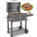 """SEGMART BBQ Grill Charcoal with Smoker, 22.8"""" L x 17"""" H Outdoor Charcoal Grill with 2 Wheels, Portable BBQ Grill with Side Burner and Griddle, Small Grill Outdoor Cooking for Patio Backyard, Grey, H61"""