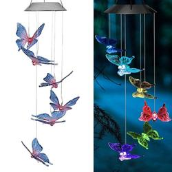 Solar Wind Chime Light Color Changing Butterfly Wind Chime Waterproof Solar Wind Mobile Outdoor Decorative-2 PCS