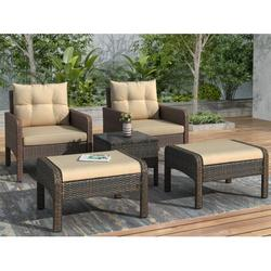 Outdoor Conversation Sets, 5 Piece Patio Furniture Sets with 2 Cushioned Chairs, 2 Ottoman, Glass Table, PE Wicker Rattan Outdoor Lounge Chair Chat Conversation Set for Backyard, Porch, Garden, LLL309