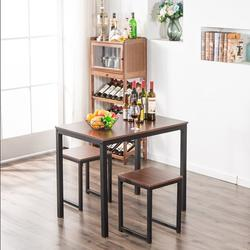 Kitchen Table Set, YOFE Modern Dining Room Table Sets, 3 Piece Kitchen Table Set w/ 2 Stools, Small Dining Table Sets for 2, Metal Frame Kitchen Table Set with Chair for Small Spaces, Beige, R3575