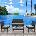 4 Piece Patio Conversation Sets, Furniture Set with 2pcs Arm Chairs, 1pc Love Seat & Coffee Table, Brown Wicker Bistro Patio Sets, Outdoor Chairs Set for Backyard Porch Poolside Garden Lawn, W12836
