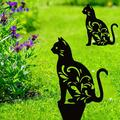 2 Packs Acrylic Cat Garden Statues, Black Cat Silhouette Cat Decorative Garden Stakes Garden Outdoor Statues Animal Stakes for Yard Decor and Lawn Ornaments