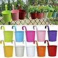 PersonalhomeD 10pcs/set Colorful Hanging Flower Pot Hook Wall Pots Iron Flower Holder Balcony Garden Planter Home Decor Plant Pots