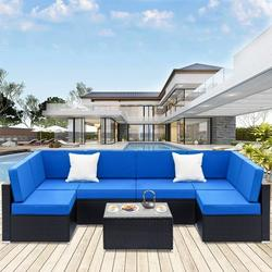7PCS Outdoor Patio Furniture, All-Weather Wicker Patio Sectional Sofa Set, Rattan Sofa Set for Backyard, Durable Outdoor Garden Cushioned Seat with Coffee Table, Bistro Table Set for Poolside, Q8155