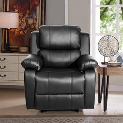 Leather Recliner Chair, BTMWAY Full Body Massage Lounge Reclining Sofa Chair with 8 Vibration Motors&Waist Heating&3 Angles Chairback Adjustments, Single Sofa Reading Lounge Chaise Chair, Black, R587