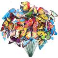 Aousthop Butterfly Stakes,50 pcs 7cm Garden Butterfly Stakes Decor Outdoor Yard Patio Planter Flower Pot Spring Garden