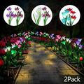 Outdoor Solar Flower Garden Stake Lights, EEEkit 2Pcs Solar Powered Flower Lights with 8 Lily Flowers, 7-Color Changing LED Solar Landscape Lighting Decorative Light for Garden, Patio, Backyard