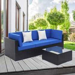 Wicker Outdoor Sectional Sofa Set, 4 Piece Patio Furniture Dining Sets with Coffee Table&Patio Sofa, All-Weather Black Rattan Wicker Sofa Set, Outdoor Conversation Sets for Backyard, Poolside, W2257