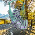 Portable Hammock Chair for Kids, Unique Hanging Rope Hammock Chair, Hanging Swing Outdoor Seat Patio Porch Garden Beach Camping with Two Soft Pillows, Durable Spreader Bar, Holds 250lb, Green, Q9312