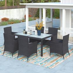 7-piece Outdoor Wicker Dining set - Dining table set for 7 - Patio Rattan Furniture Set with Beige Cushion (Black)