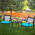 Patio Garden Balcony and Backyard3-Piece Conversation Black Wicker Furniture-Two Chairs with Glass Coffee Table Light Blue