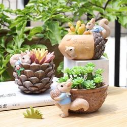 Yinrunx Cute Succulent Pots Planters Indoor Plants Succulent Planter Cactus Plant Gifts Plant Lover Gifts Animal Planter Squirrel Fleshy Cute Planters Cute Plant Pots Cute Flower Pots Succulent Gifts