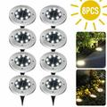8 LEDs Solar Disk Lights Outdoor Path Lights, Solar Powered Buried Light, Pathway Garden Decking