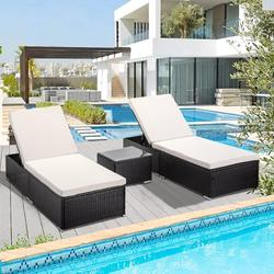 enyopro 3 Piece Outdoor Patio Chaise Lounge Set, PE Wicker Lounge Chairs with Adjustable Backrest Recliners & Side Table, Reclining Chair Furniture Set with Cushions for Pool Deck Patio Garden, K2689