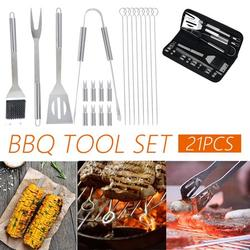 HOTBEST 21PCS BBQ Tool Set BBQ Grill Accessories Tools Set, Stainless Steel Grilling Barbecue Tool Sets Kit Grill Mats for Backyard Outdoor Camping Birthday Party