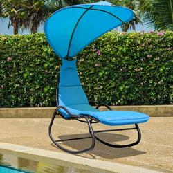 Gymax Patio Lounge Chair Chaise Garden w/ Steel Frame Cushion Canopy Turquoise