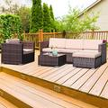 Outdoor Patio Conversation Set, 4PCS PE Rattan Wicker Sofa Set, Outdoor Sectional Furniture Set with 3-Seater Sofa, Cushions and Tea Table, All-Weather Bistro Set for Garden Lawn Poolside, K2811