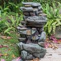 Outdoor Water Fountain, 5-Tier Floor Rack Water Fall Fountain with LED Lights, 40 Inch Floor Standing Outdoor Fountain for Garden, Deck, Porch, Indoor Outdoor Waterfall Feature, Patio Decor, W16126