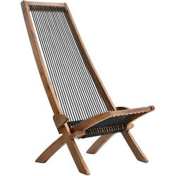 Folding Wooden Lounge Chair, Patio Chaise Lounge Outdoor Chair Low Profile Acacia Wood Accent Furniture, Sling Chair for Porch Deck Balcony Lawn Garden