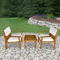 3-Piece Acacia Wood Patio Bistro Set Outdoor Chat Conversation Table Chair Set Outdoor Wood Chat Set with Water Resistant Cushions and Coffee Table Chairs for Beach Backyard Balcony Garden, Natural