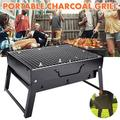Barbecue Charcoal Grill Foldable BBQ Grill Charcoal Barbecue Smoker Grill Tabletop Stoves Grill for Outdoor Cooking Camping Hiking Garden Party 16.9'' 8.6''11.4''(Unfolded) Black